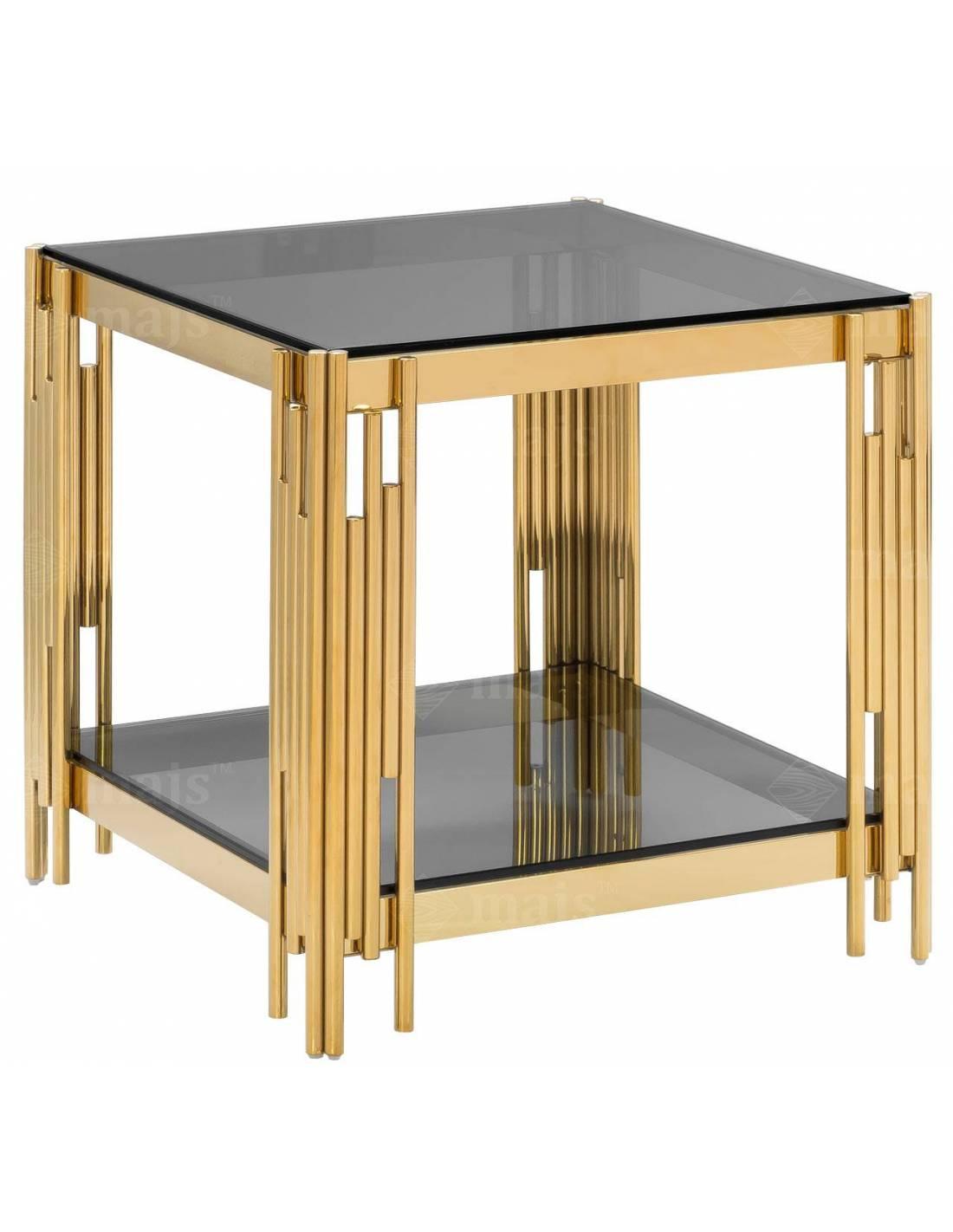Metalowy złoty stolik kawowy z narożnymi zdobieniami i szklanymi blatami