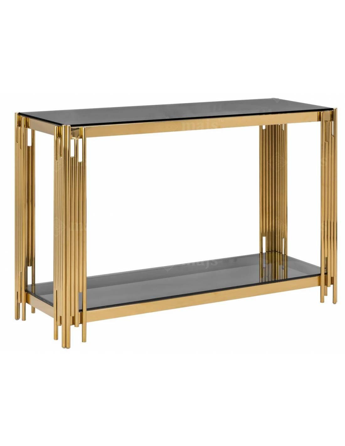 Złota metalowa konsola ze szklanym przyciemnionym blatem