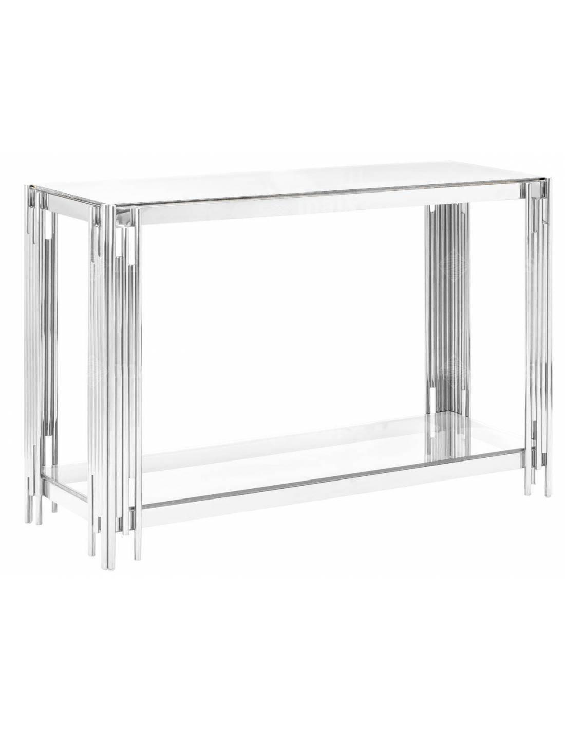 Srebrna metalowa konsola ze szklanym bezbarwnym blatem