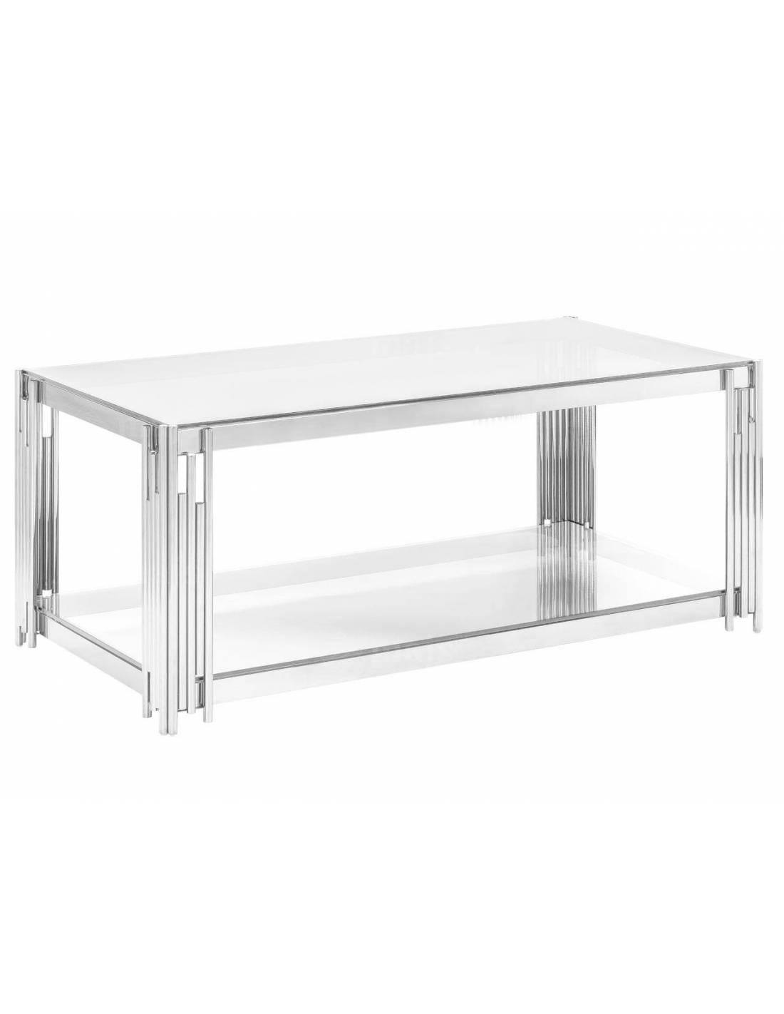 Metalowy stolik kawowy z blatem szklanym i zdobionymi narożnikami