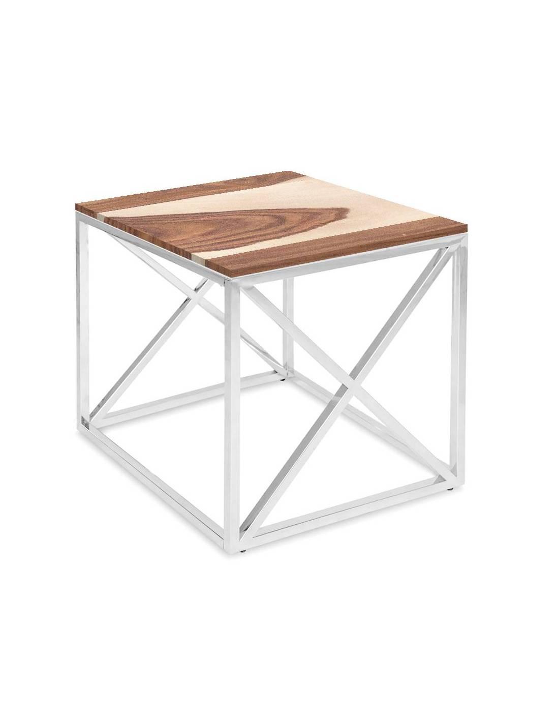 Chromowany metalowy srebrny stolik z blatem z egzotycznego drewna