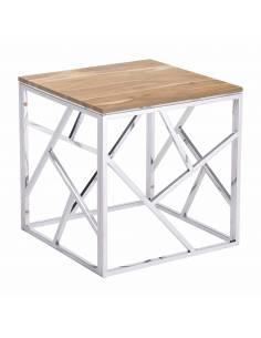 Srebrny metalowy stolik...