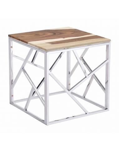 Srebrny metalowy stolik kawowy z...