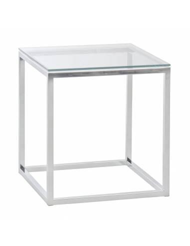 Chromowany metalowy srebrny stolik ze...