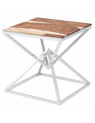 Metalowy chromowany stolik z blatem z...