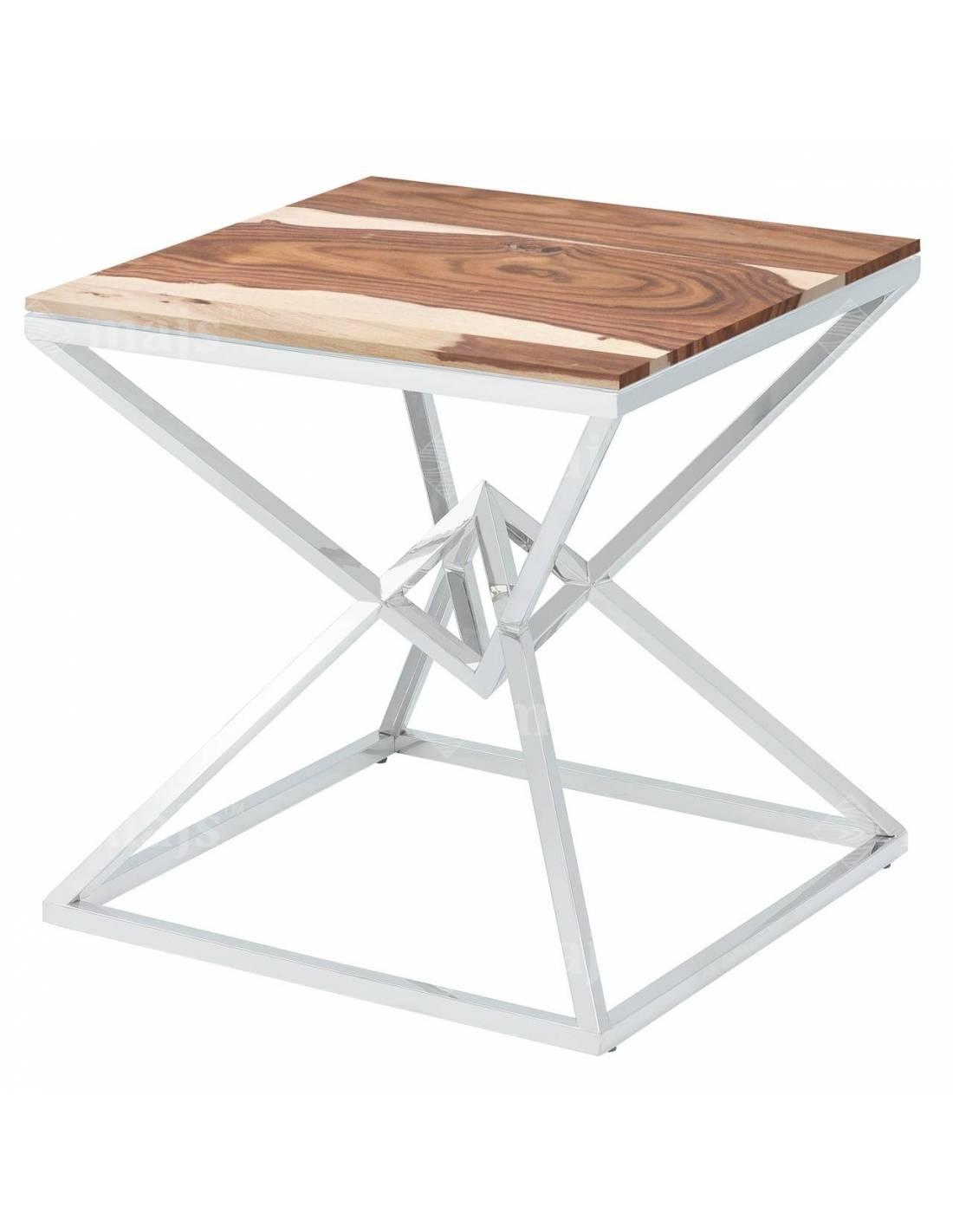 Metalowy chromowany stolik z blatem z egzotycznego drewna klepsydra