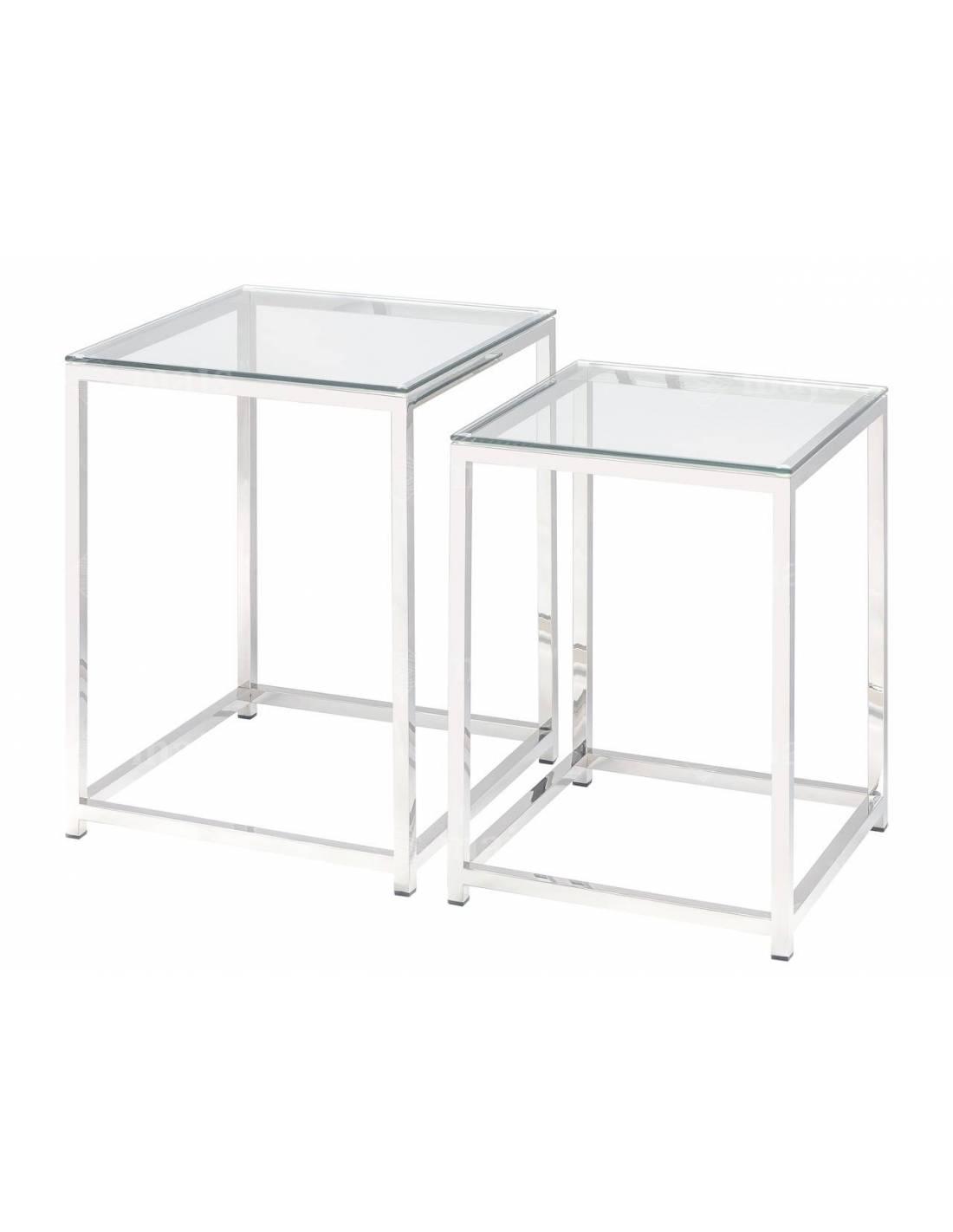 Zestaw metalowych, srebrnych stolików ze szklanym blatem