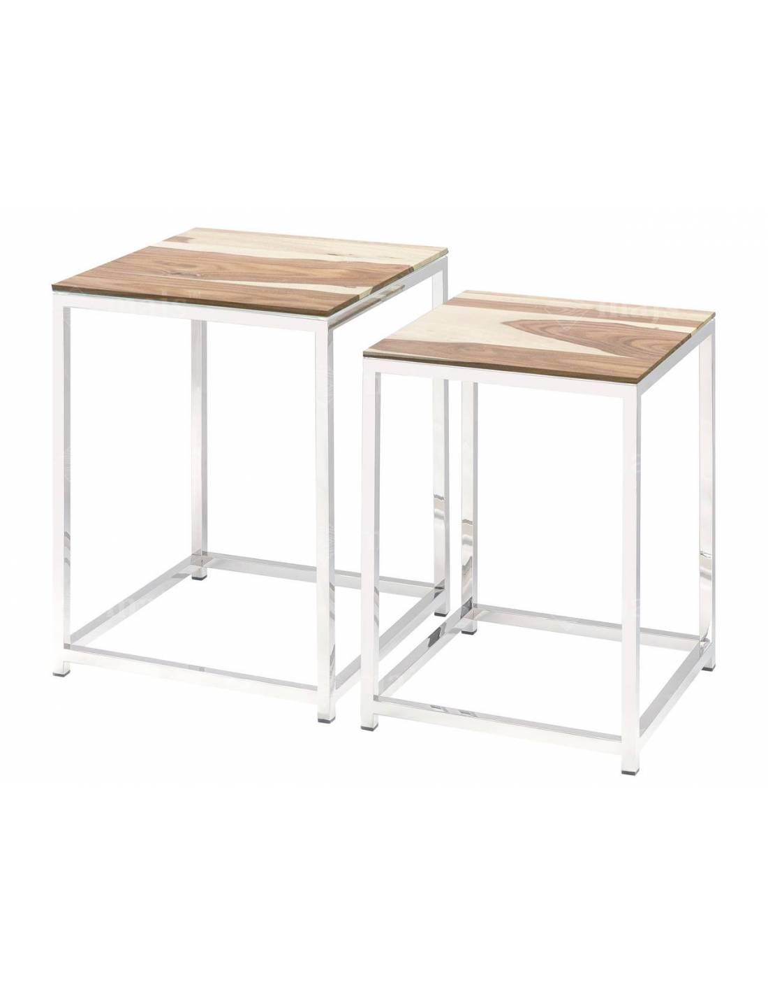 Zestaw metalowych, srebrnych stolików z drewnianym blatem