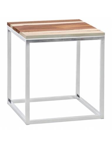 Chromowany metalowy srebrny stolik z...