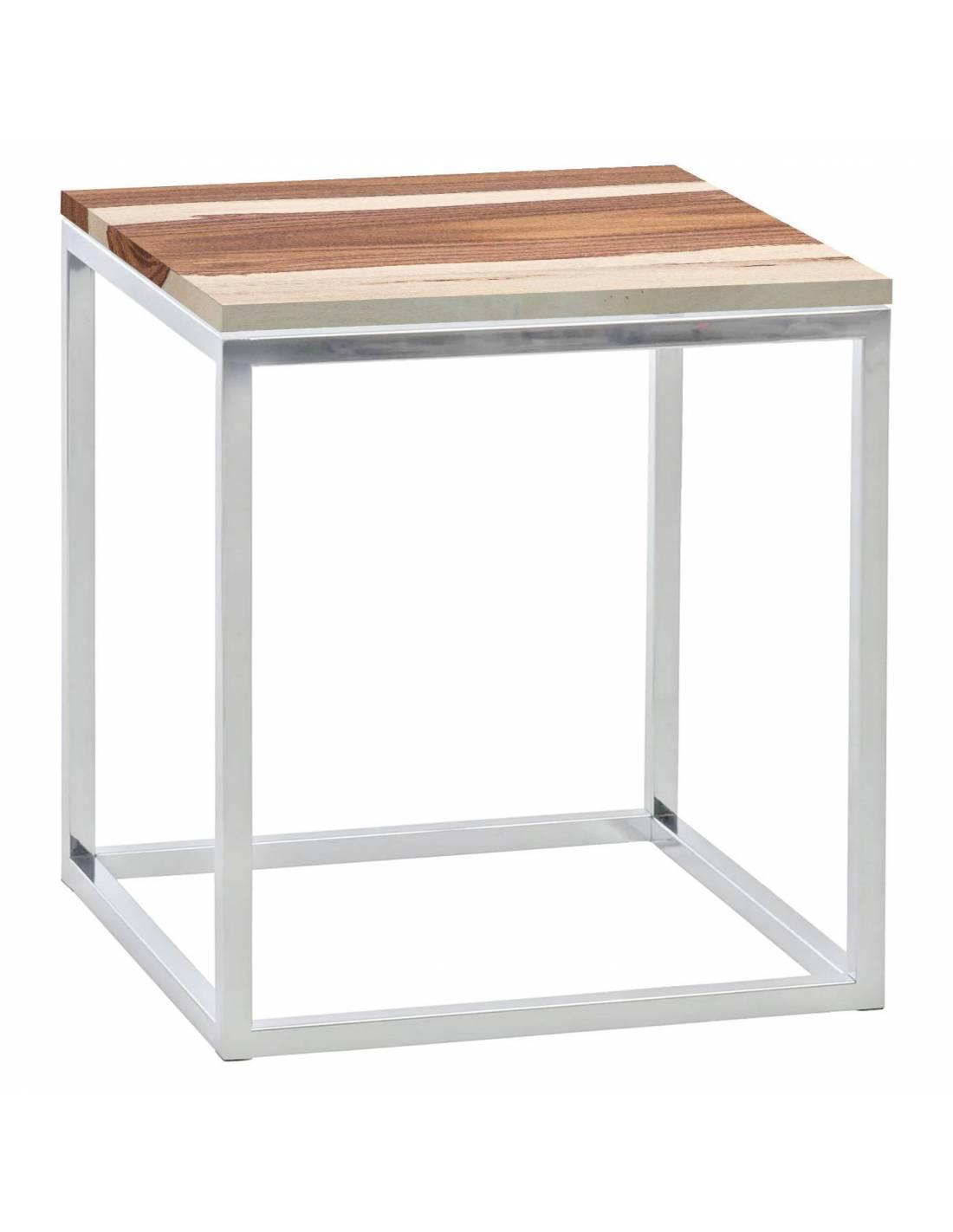 Chromowany metalowy srebrny stolik z drewnianym blatem