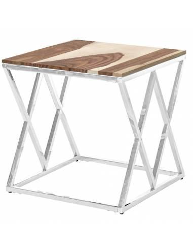 Srebrny stolik kawowy z drewnianym...