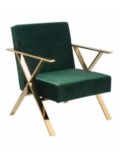 Welurowy fotel ze złotymi...
