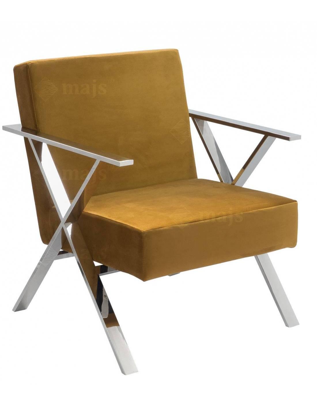 Fotel ze srebrnymi nogami i brązowym welurowym obiciem
