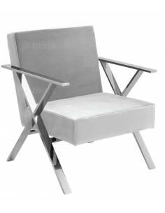 Jasno szary welurowy fotel...