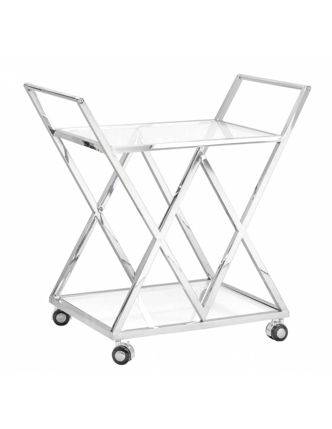 Metalowy chromowany wózek kelnerski barek ze szklanymi blatami