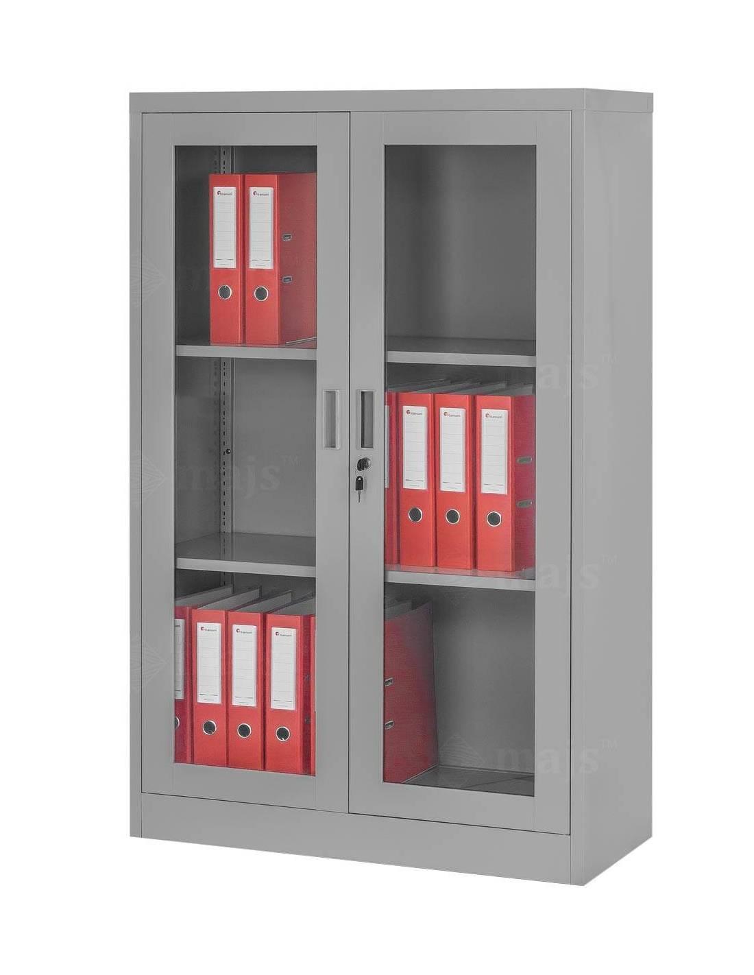 Szafa regał na dokumenty segregatory z przeszklonymi drzwiami i dwoma półkami