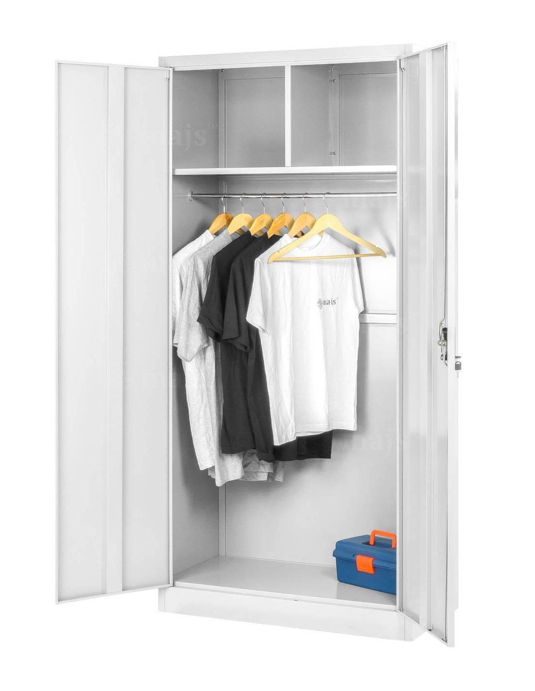 Szafa dwudrzwiowa z półkami i drążkiem na ubrania