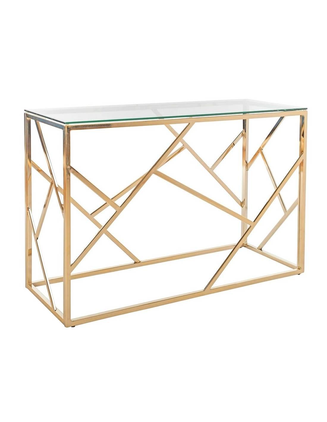 Złota metalowa konsola 120cm ze szklanym blatem