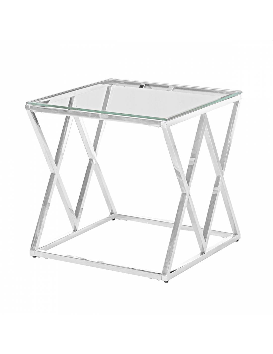 Srebrny stolik kawowy z przeźroczystym szklanym blatem