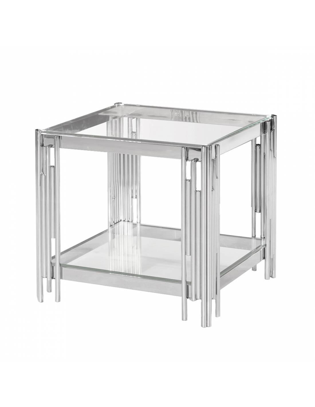 Metalowy stolik kawowy z narożnymi zdobieniami i szklanym bezbarwnym blatem