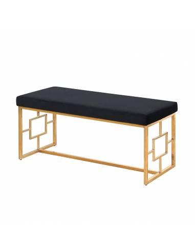 Złota metalowa ławka z miękkim...