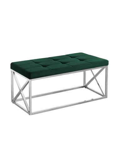 Metalowa srebrna ławka z pikowanym...