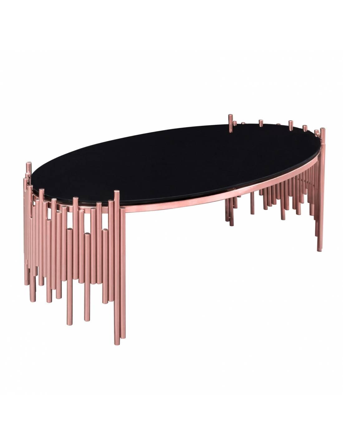 Stolik kawowy okrągły w kolorze różowego złota ze szklanym blatem