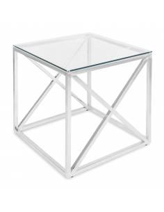Srebrny metalowy stolik ze...