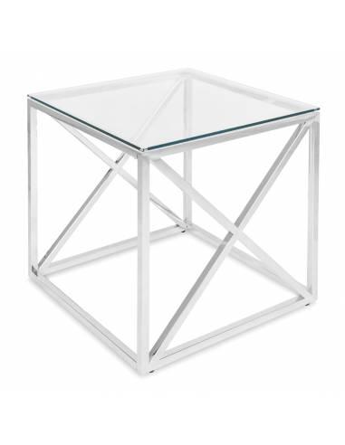Srebrny metalowy stolik ze szklanym...