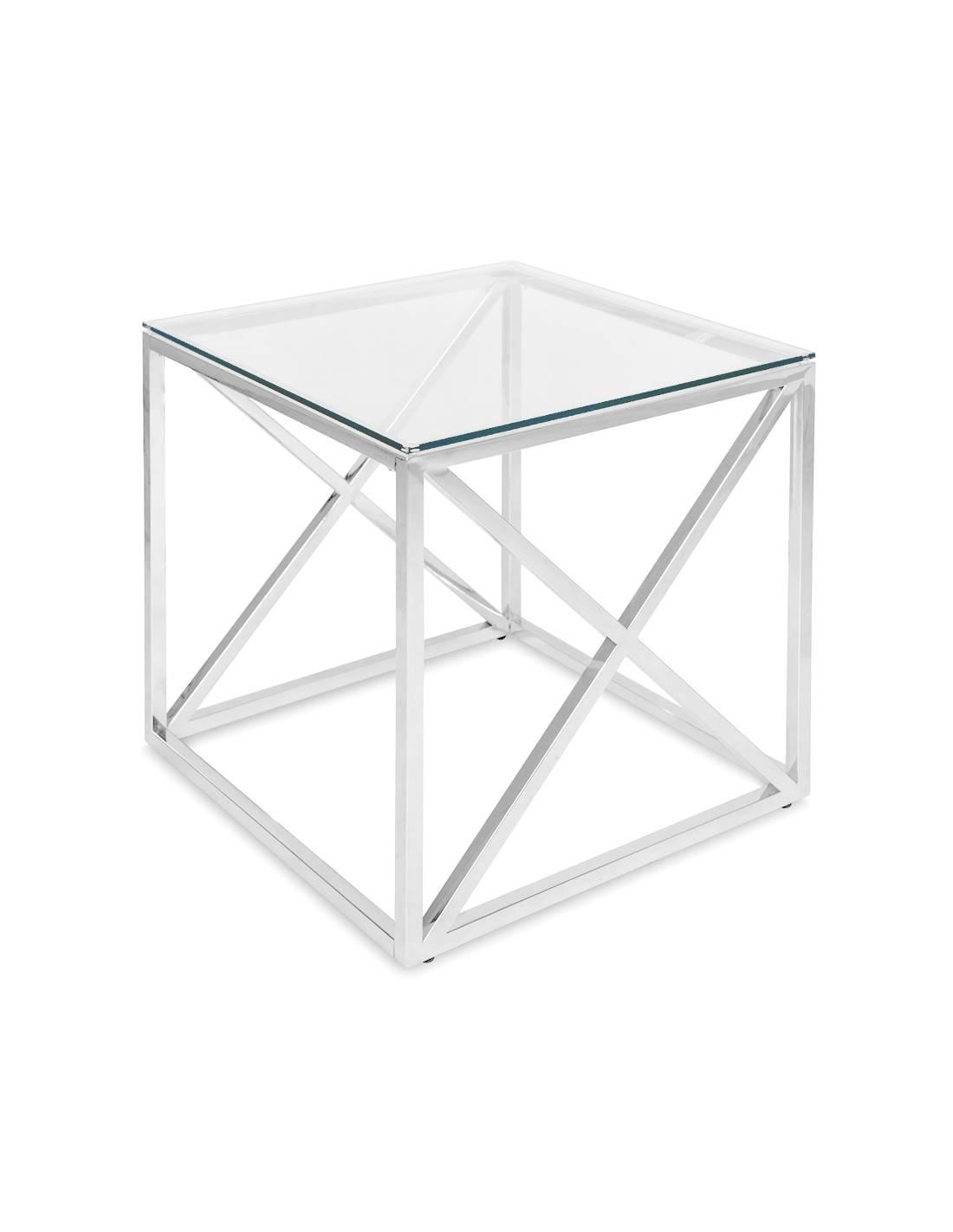 Srebrny metalowy stolik ze szklanym blatem