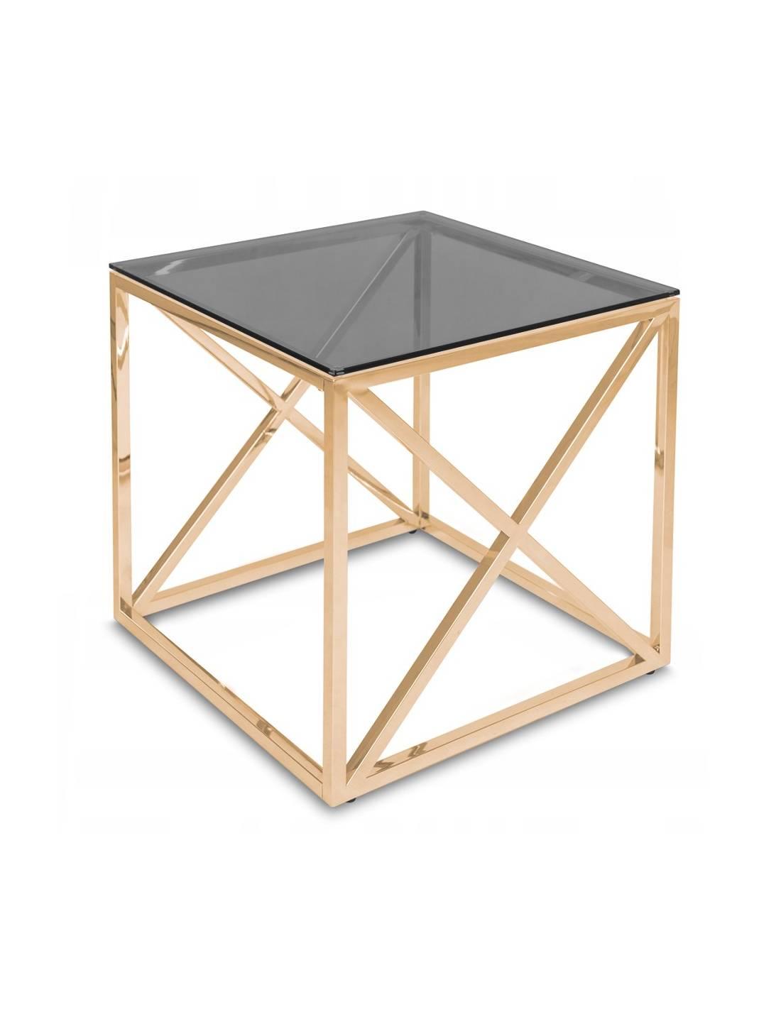Złoty stolik kawowy z przyciemnionym szklanym blatem