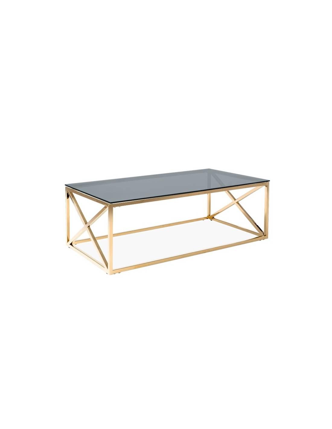 Metalowy złoty stolik kawowy z przyciemnionym szklanym blatem