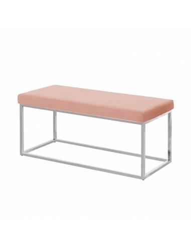 Metalowa srebrna ławka z obiciem w...