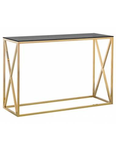 Złota metalowa konsola ze szklanym...