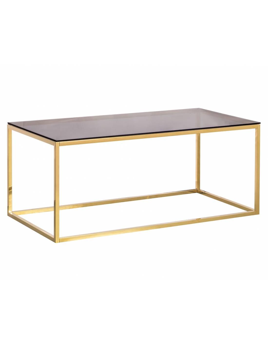 Metalowy złoty stolik kawowy ze szklanym przyciemnianym blatem