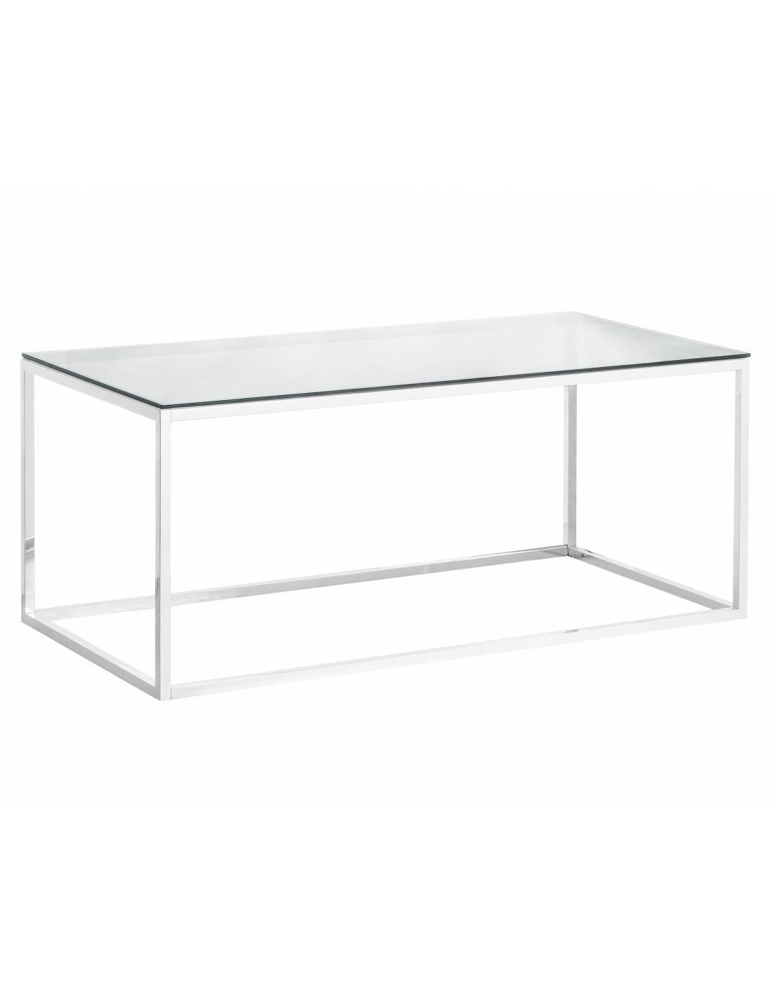 Srebrny metalowy stolik kawowy ze szklanym blatem