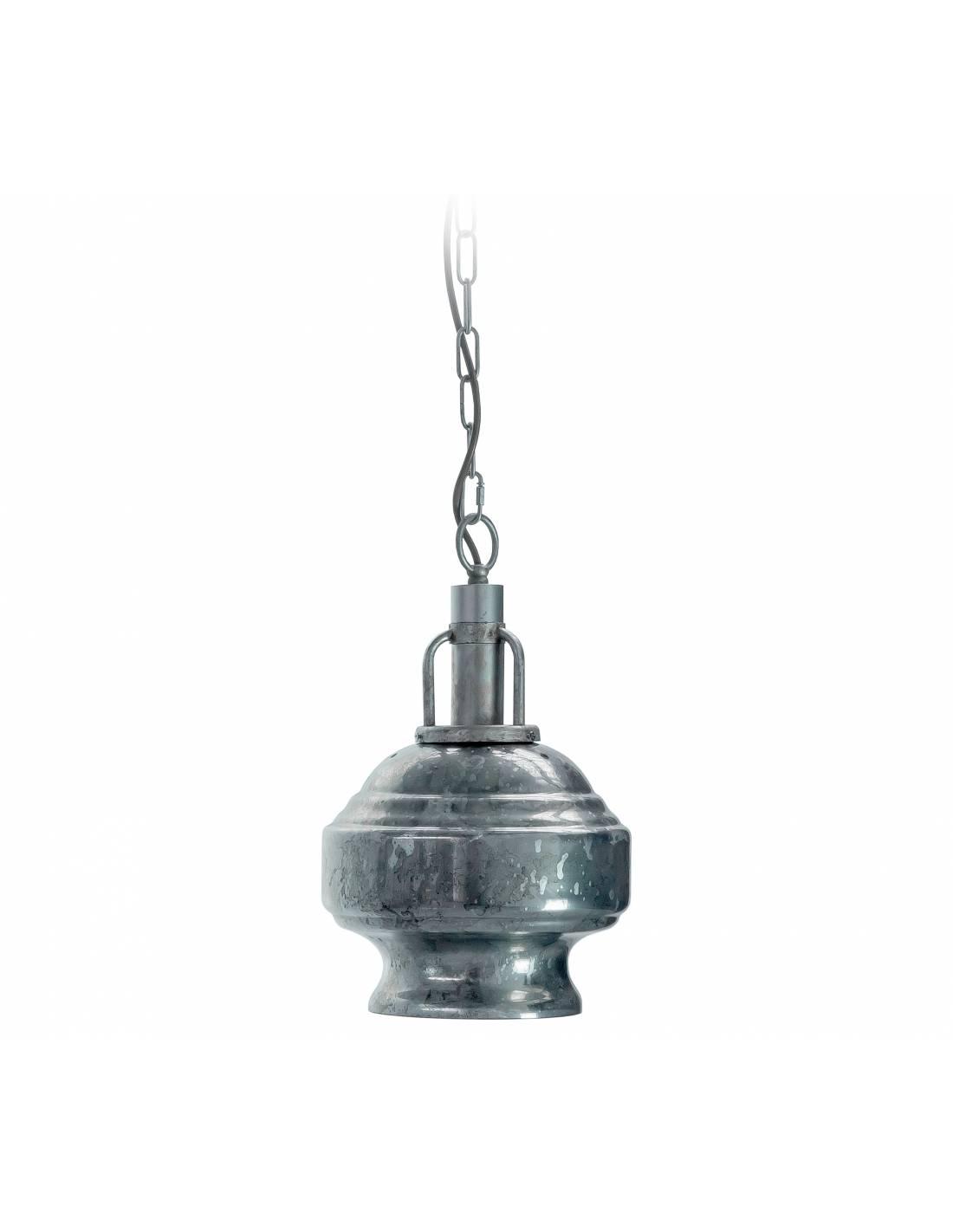 Industrialna lampa ze szklanym posrebrzanym kloszem