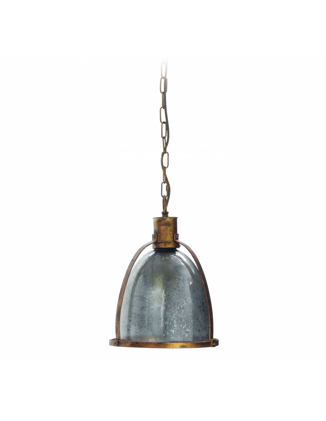 Stylizowany industrialny żyrandol loftowy ze szkła i metalu