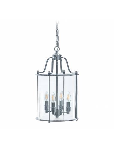 Chromowana lampa sufitowa ze szklanym...