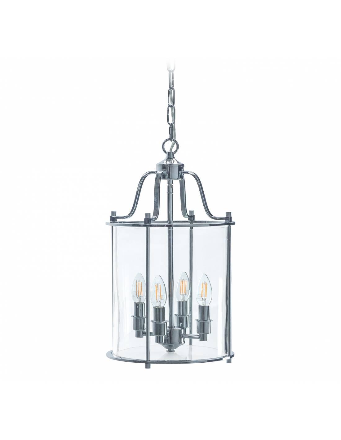 Chromowana lampa sufitowa ze szklanym kloszem