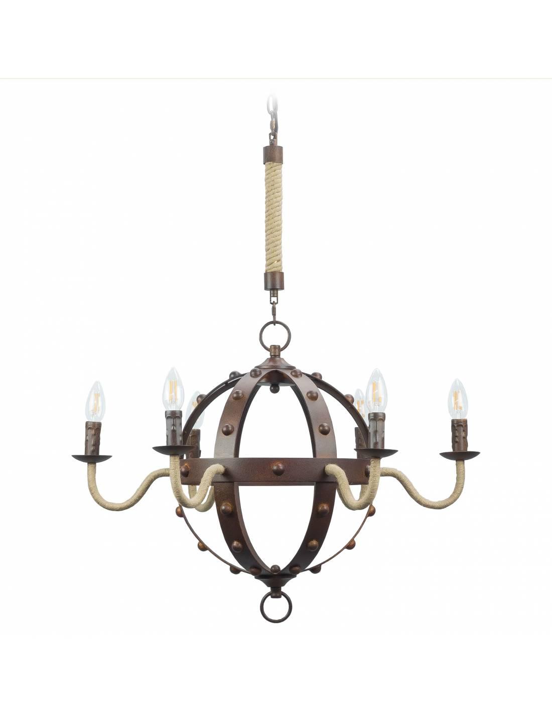 Metalowy żyrandol sufitowy z elementami ze sznurem konopnym