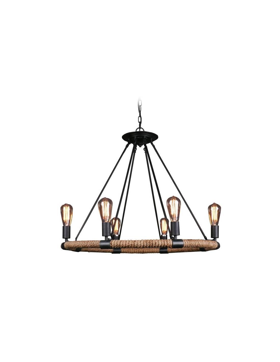 Lampa sufitowa ze stalowej obręczy oplecionej sznurem konopnym