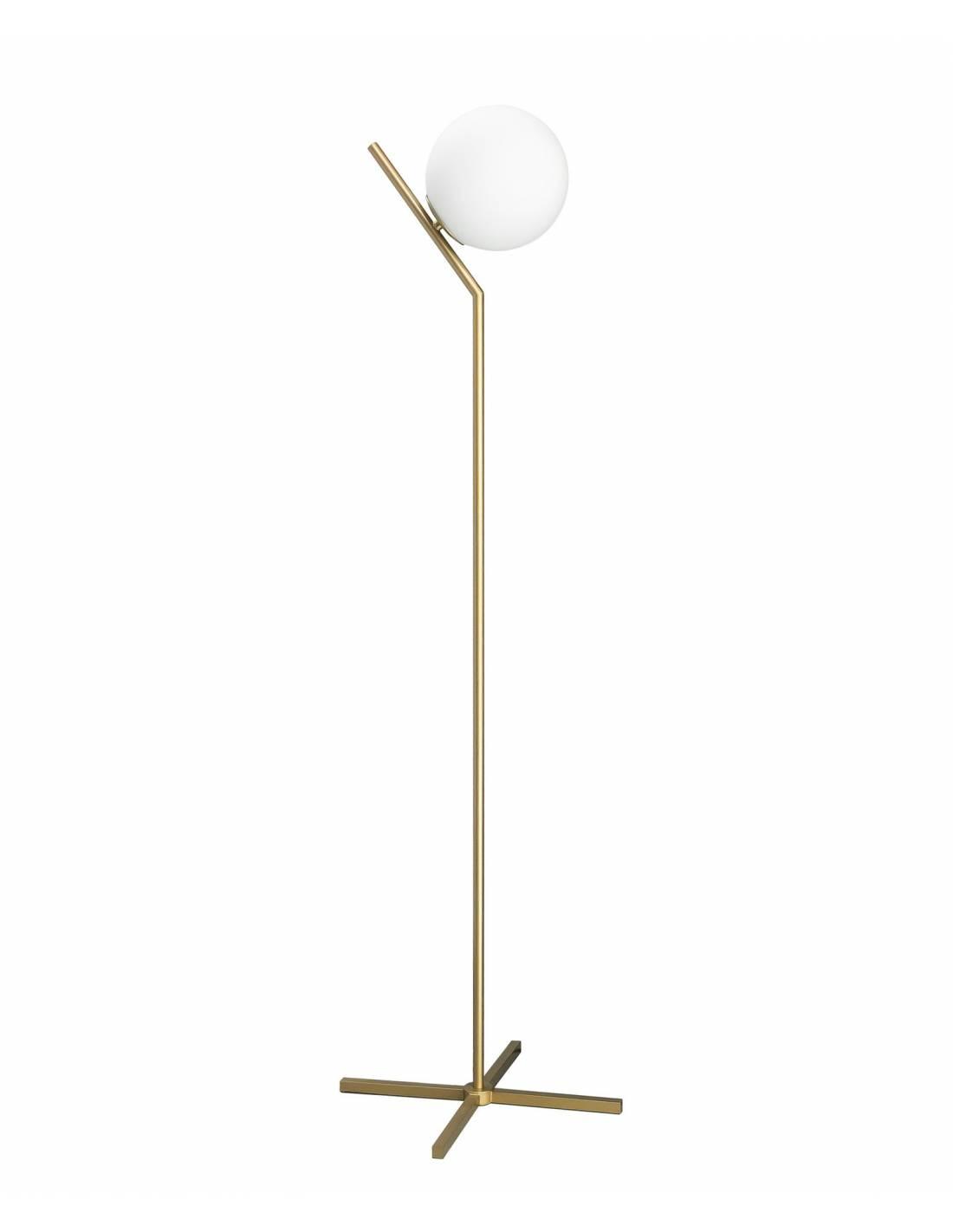 Złota stojąca lampa podłogowa ze szklanym okrągłym kloszem