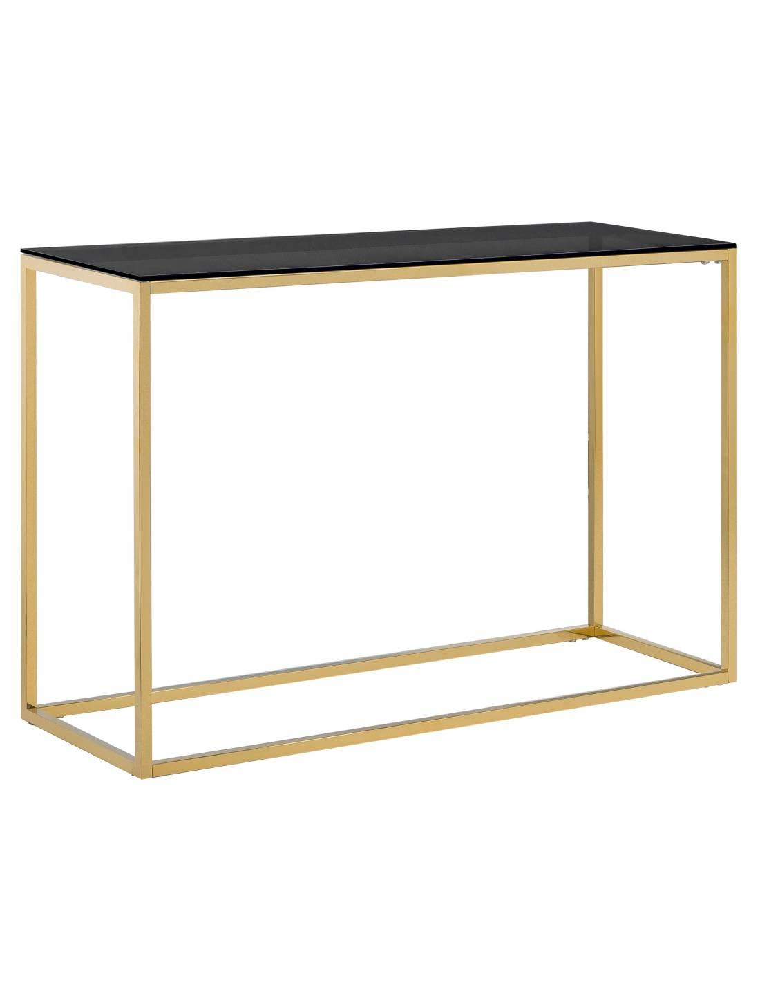Złota konsola z metalu ze szklanym przyciemnianym blatem