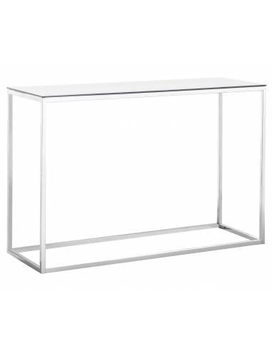 Metalowa srebrna konsola ze szklanym...