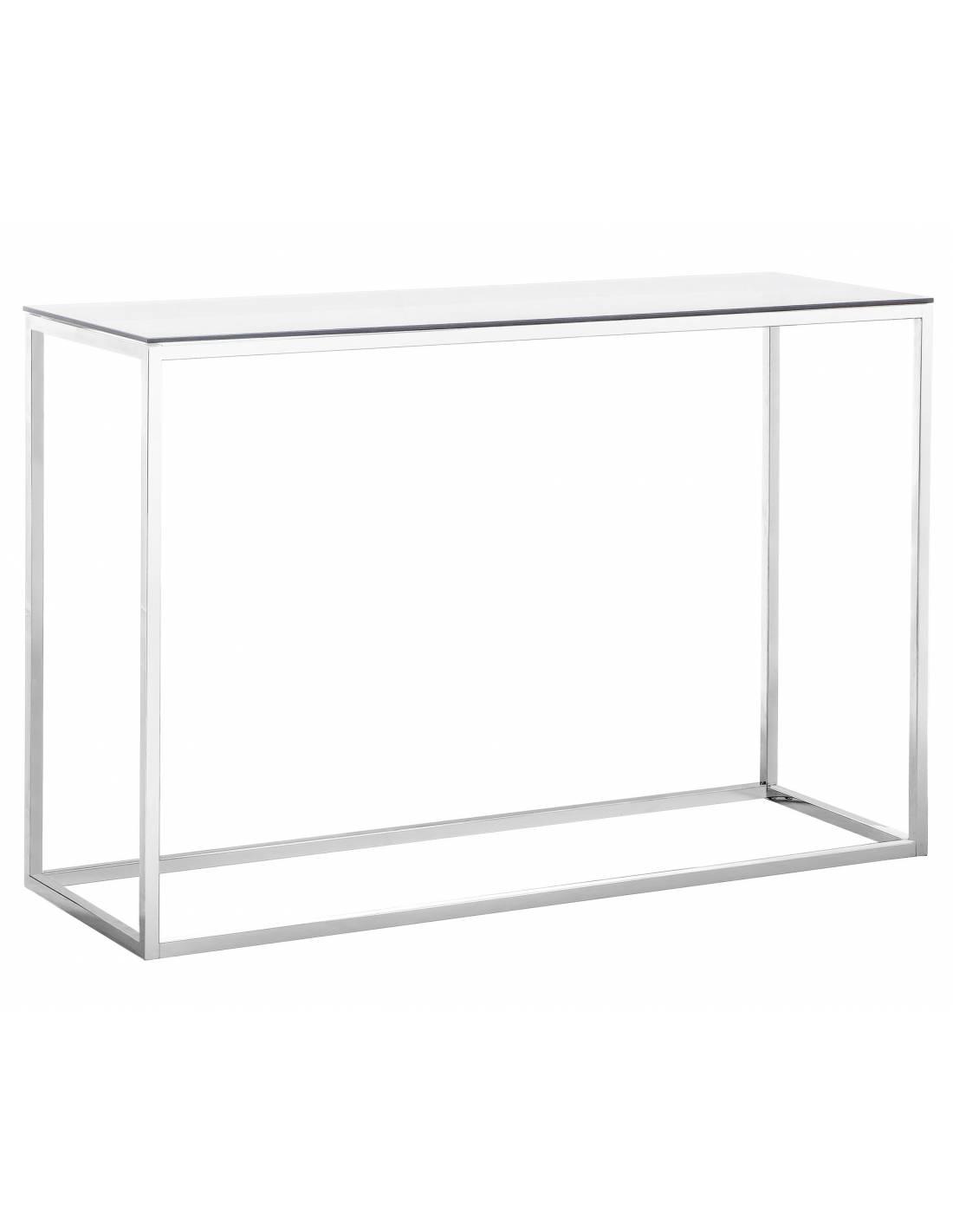 Metalowa srebrna konsola ze szklanym blatem
