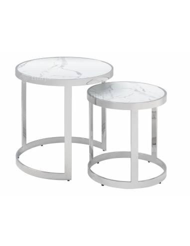 Metalowy zestaw stolików z białym marmurowym blatem