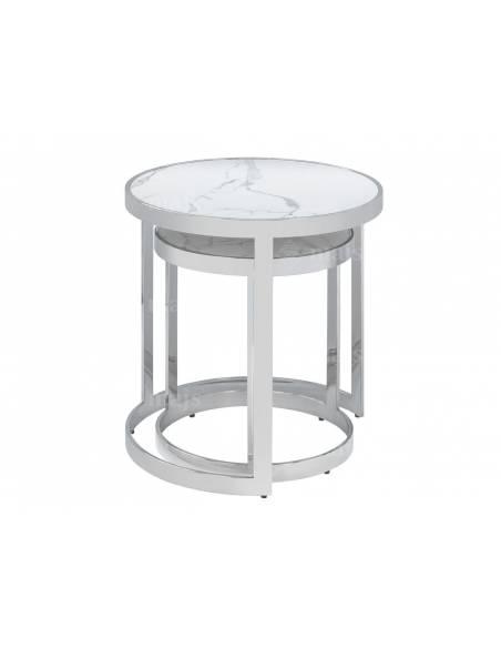 Zestaw składanych stolików z metalu ze szklanym białym blatem