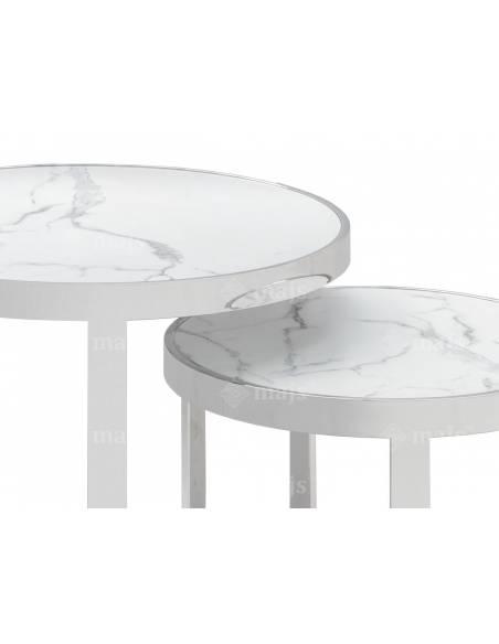 Metalowe okrągłe stoliki ze szklanym dwustronnym blatem
