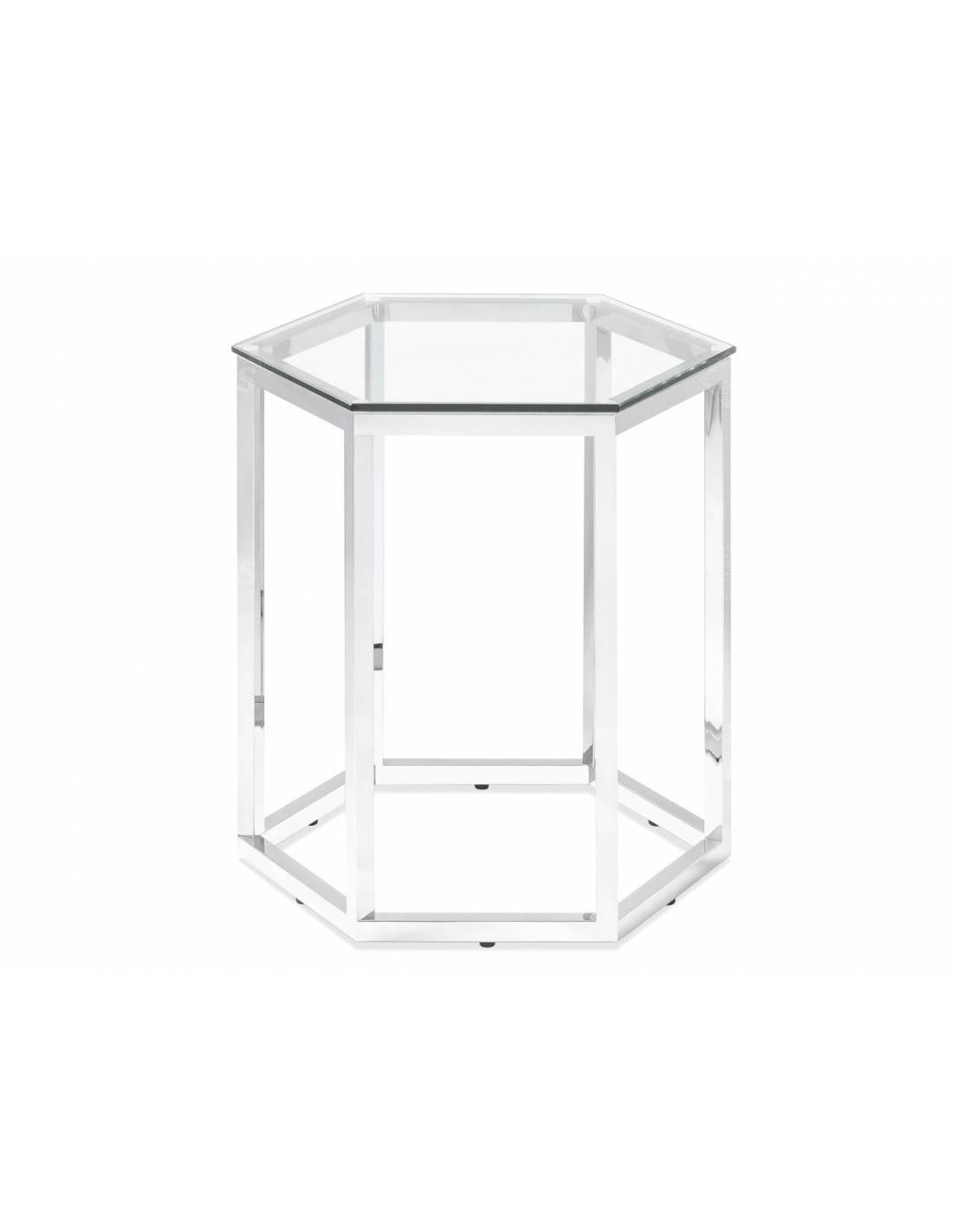 Metalowy srebrny stolik o sześciokątnym szklanym blacie